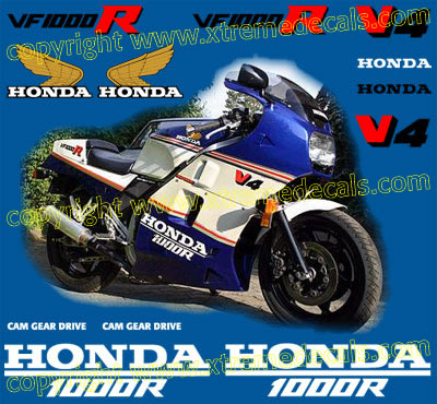Honda VF 1000R Decal Set 1986 model
