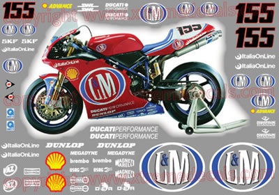 2002 Ducati 998 L&M Race Decal Kit