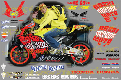 Honda Repsol Valencia Race Decal Set 2003 Style