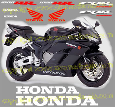 2005 CBR Fireblade 1000 RR Black Bike Decal Set