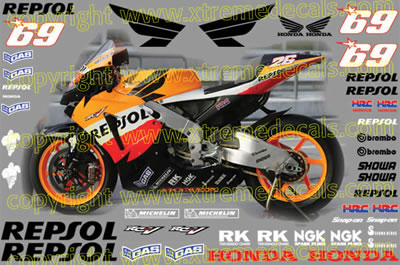 2006 Repsol Honda Race Decal Set 45 decals