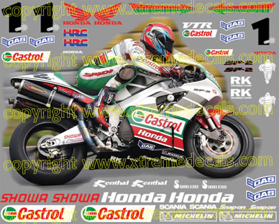 Castrol Honda Race Decal Set VTR1000 SP2 2002 Style